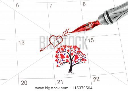 Point Out Valentine's Day In The Calendar