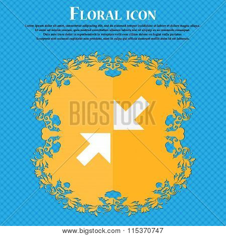 Exit Full Screen Icon. Floral Flat Design On A Blue Abstract Background With Place For Your Text.