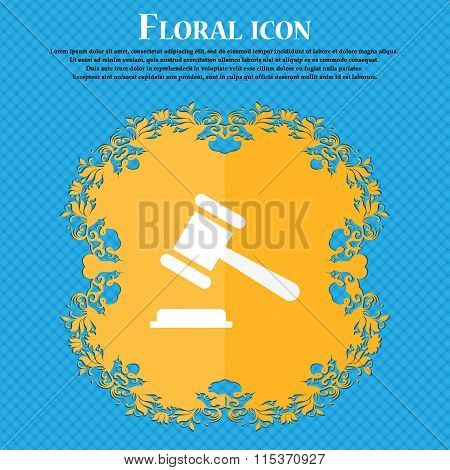 Judge Or Auction Hammer Icon. Floral Flat Design On A Blue Abstract Background With Place For Your