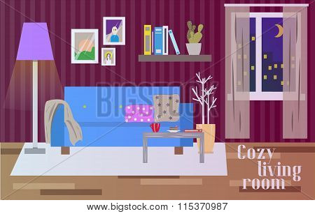Living room interior in flat style. Vector illustration with furniture, sofa, table, window, lamp
