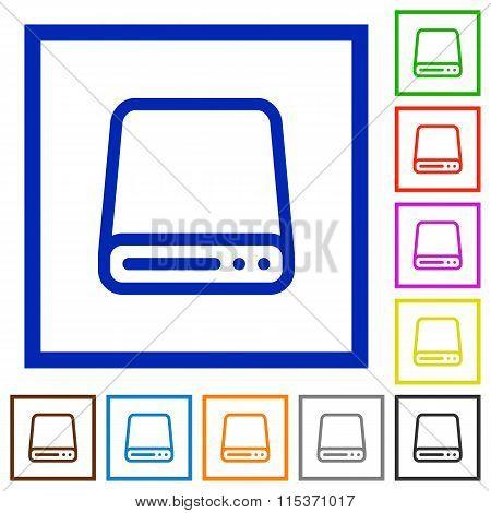 Hard Disk Framed Flat Icons
