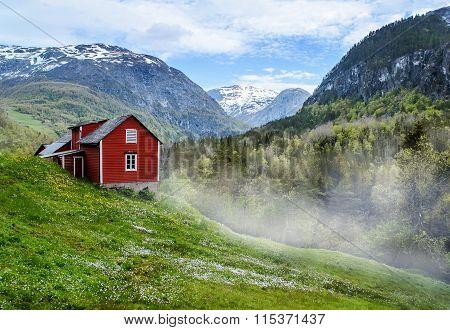 Red Cottage. Mist