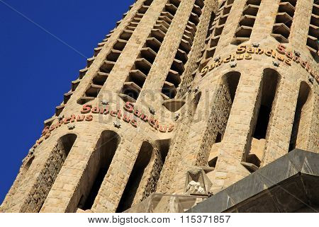 Barcelona, Catalonia, Spain - December 12, 2011: Details Of Fa?ade Of Sagrada Familia Temple, Barcel