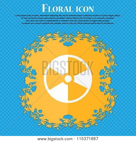 Radioactive Icon. Floral Flat Design On A Blue Abstract Background With Place For Your Text.
