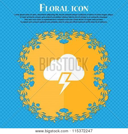 Heavy Thunderstorm Icon. Floral Flat Design On A Blue Abstract Background With Place For Your