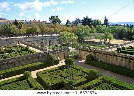 San Lorenzo De El Escorial, Spain - August 25, 2012: Garden Of The Royal Site Of San Lorenzo De El E