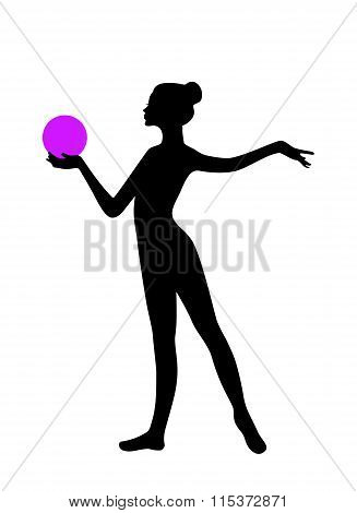 Silhouette of gymnastic girl with ball