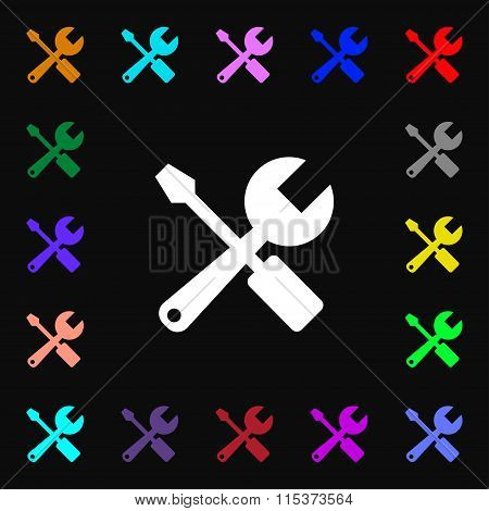 Wrench And Screwdriver Icon Sign. Lots Of Colorful Symbols For Your Design.