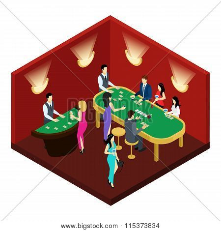 Poker Isometric Illustration