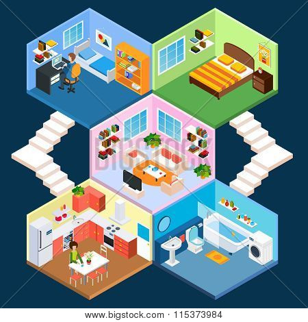 Multistory isometric interior