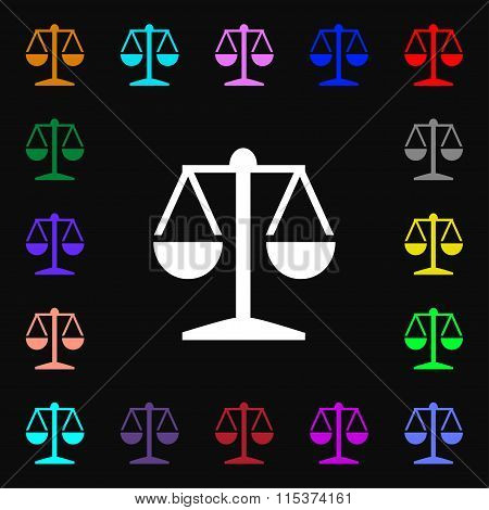 Libra Icon Sign. Lots Of Colorful Symbols For Your Design.