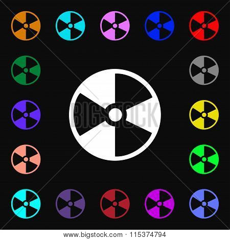 Radioactive Icon Sign. Lots Of Colorful Symbols For Your Design.