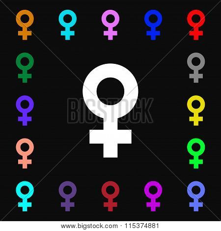 Female Icon Sign. Lots Of Colorful Symbols For Your Design.