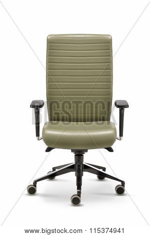 Office Chair With Armrests Green Leather Front View