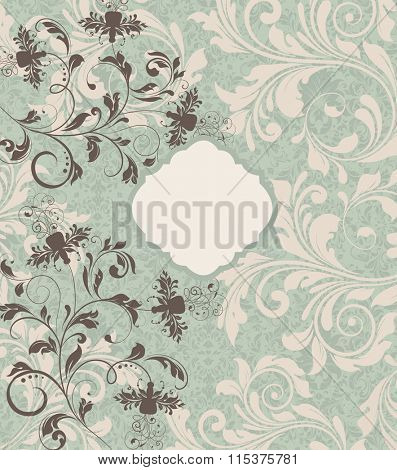 Vintage invitation card with ornate elegant retro abstract floral design, brownish gray and pale yellow flowers and leaves on snowy mint green background. Vector illustration.
