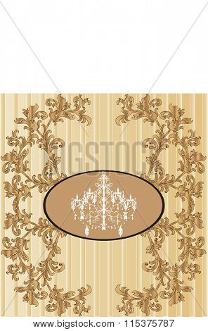 Vintage invitation card with ornate elegant retro abstract floral design, gold flowers and leaves on striped beige and light brown background. Vector illustration.
