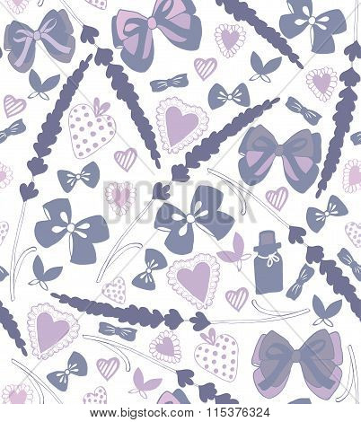 Vector Seamless Hand-drawn Background With Bows Hearts And Lavender
