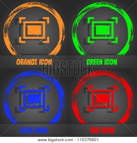 Crops And Registration Marks Icon. Fashionable Modern Style. In The Orange, Green, Blue, Red