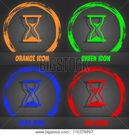 Hourglass Icon. Fashionable Modern Style. In The Orange, Green, Blue, Red Design.