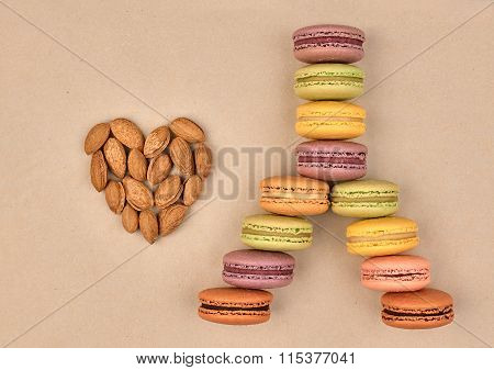 Macarons Eiffel Tower french sweet colorful,heart