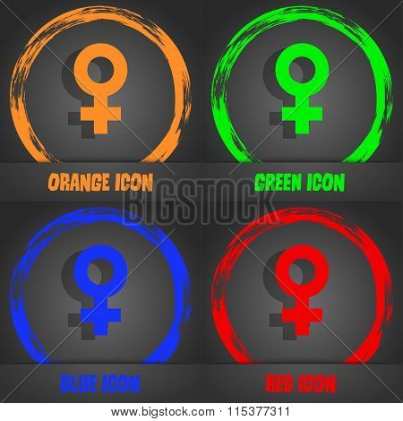 Female Icon. Fashionable Modern Style. In The Orange, Green, Blue, Red Design.