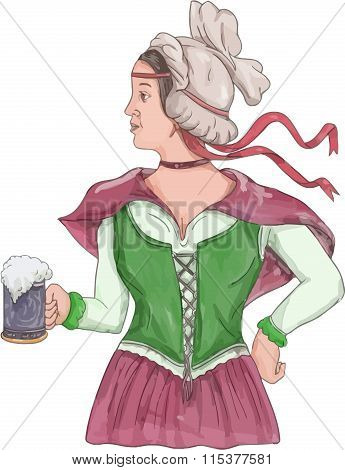 Watercolor style illustration of a German barmaid wearing medieval renaissance costume dress holding a beer mug viewed from side set on isolated white background.