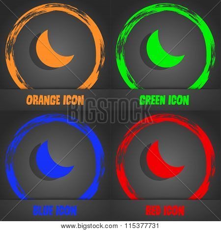 Moon Icon. Fashionable Modern Style. In The Orange, Green, Blue, Red Design.