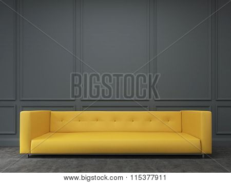 Sofa At The Wall. Front View