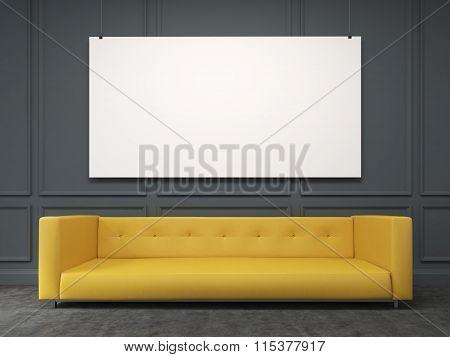 Sofa At The Wall. Front View