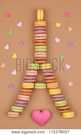 Macarons Eiffel Tower french sweet colorful,hearts