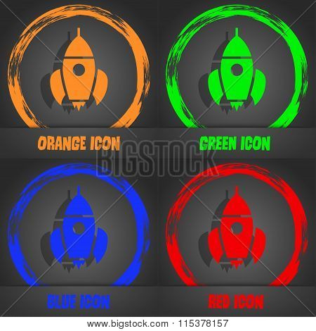 Rocket Icon. Fashionable Modern Style. In The Orange, Green, Blue, Red Design.