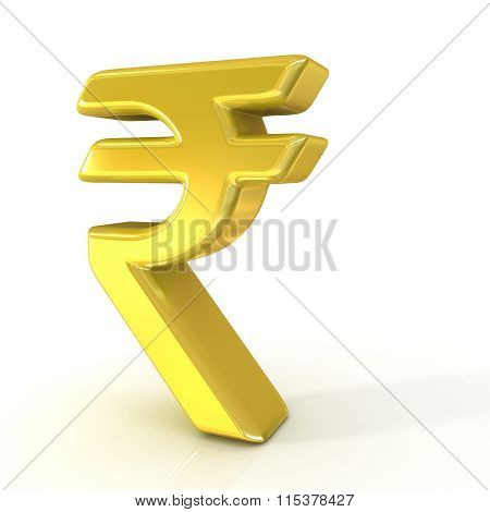 Indian rupee 3D golden sign