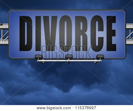Divorce papers or document by lawyer to end marriage dissolution often after domestic violence alimony.