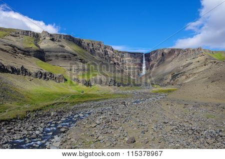 Hengifoss Is The Second Highest Waterfall On Iceland. The Most Special Thing About The Waterfall Are