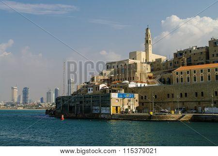 Jaffa, Israel -  10 December 2010: Jaffa Old Town And View To Tel Aviv. Israel