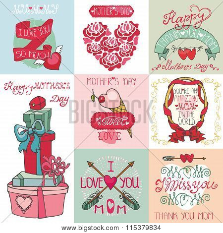 Mother's day cards set