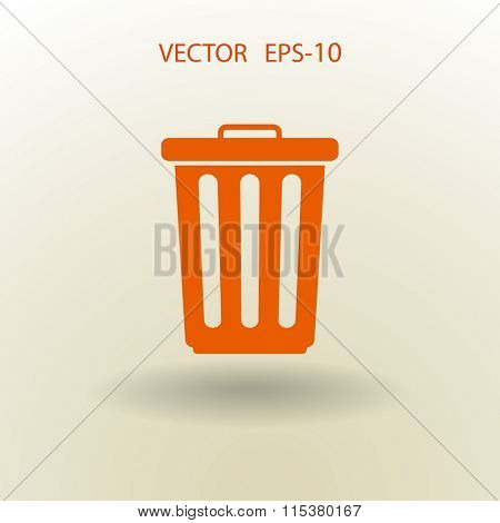 Flat a paper basket icon. vector.