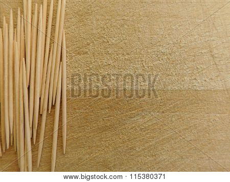 various toothpicks in the kitchen on wood base