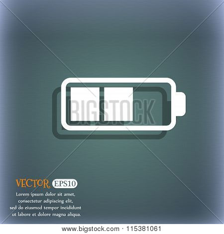 Battery Half Icon. On The Blue-green Abstract Background With Shadow And Space For Your Text.