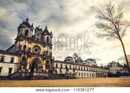 impressive medieval  Monastery in Alcobaca, Portugal. Retro style
