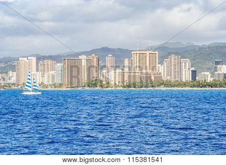Sailboat Off Waikiki