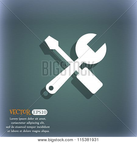 Wrench And Screwdriver Icon. On The Blue-green Abstract Background With Shadow And Space For Your