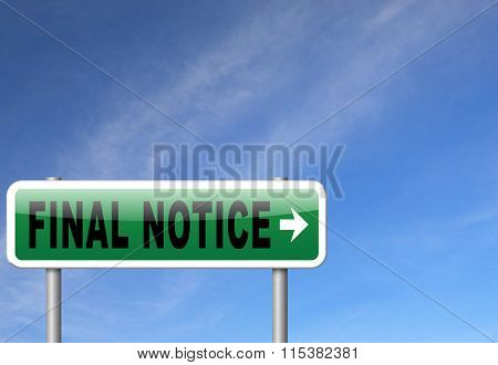final notice last chance and warning sign