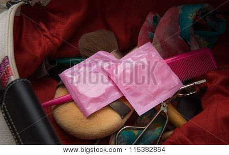 Condoms In Woman Shoulder Bag