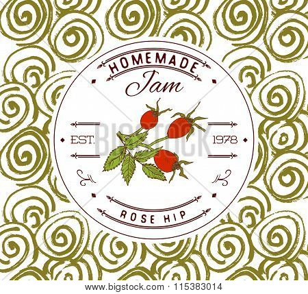 Jam Label Design Template. For Rose Hip Dessert Product With Hand Drawn Sketched Fruit And Backgroun