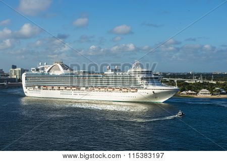 Cruise ship ocean sea luxury travel vacation massive modern boat caribbean Ft Fort Lauderdale pier dock port