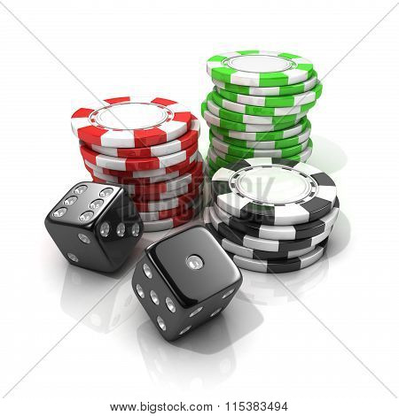 Stacks of red green black gambling chips and black dices