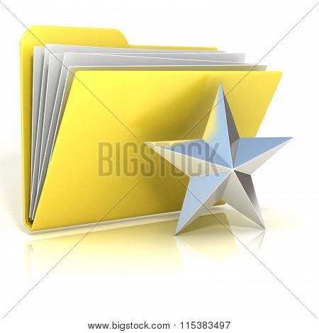Favorites star folder icon 3D