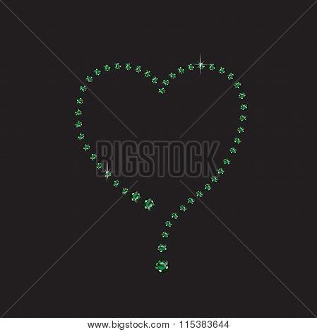 Emerald Creative Heart Frame On Black