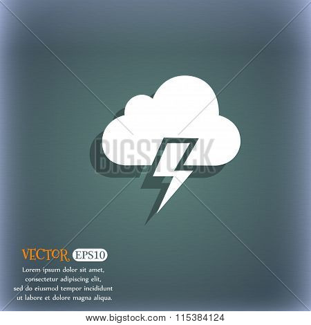 Heavy Thunderstorm Icon. On The Blue-green Abstract Background With Shadow And Space For Your